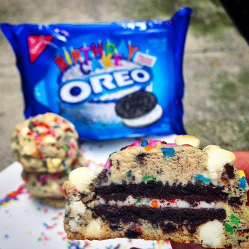 Chelsweets Birthday Cake Oreo Stuffed Funfetti Cookies Chelsey White
