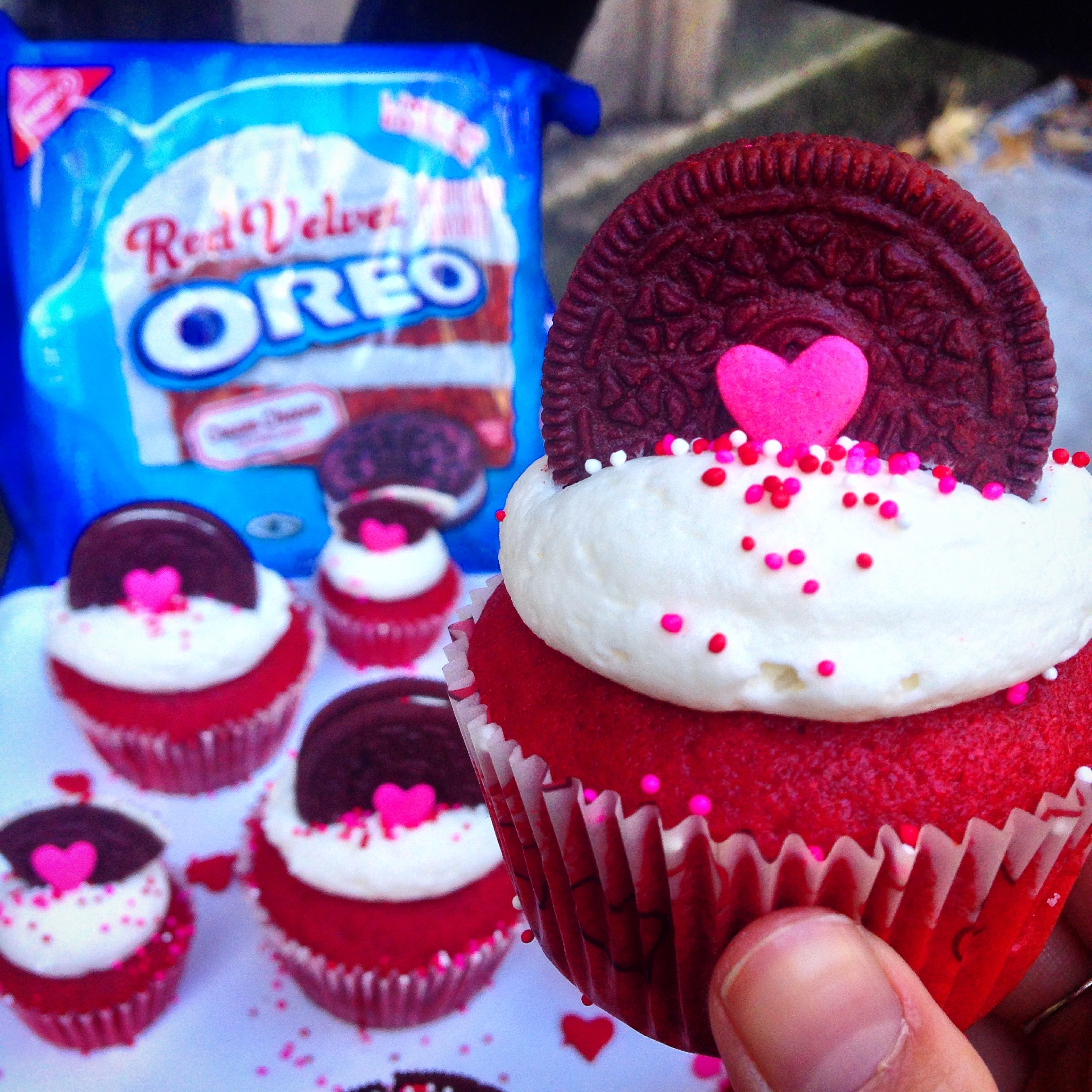 Red Velvet Oreo Cupcakes Press One Red Velvet Oreo Into