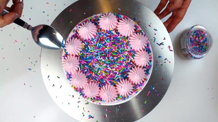 sprinkles on top of vegan cake