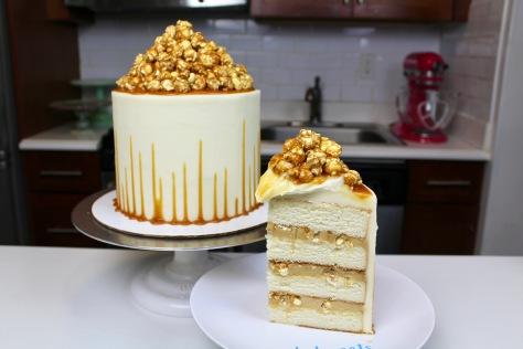 Caramel corn cake slice