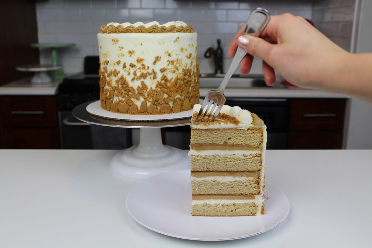 cookie butter cake slice with fork